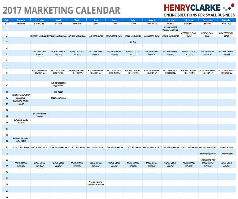 Marketing Calendar  Affordable Small Business Websites In Dayton